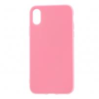Leský gumový kryt na iPhone X - růžový