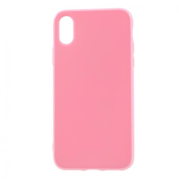 AppleKing lesklý gumový kryt na iPhone XS / iPhone X - růžový - možnost vrátit zboží ZDARMA do 30ti dní