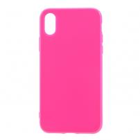 Leský gumový kryt na iPhone X - tmavě růžový