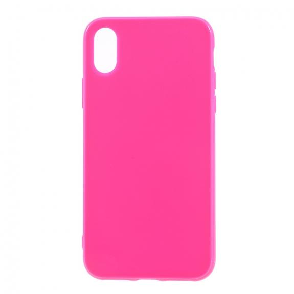 AppleKing lesklý gumový kryt na iPhone XS / iPhone X - tmavě růžový - možnost vrátit zboží ZDARMA do 30ti dní