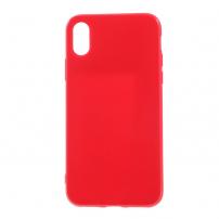 Leský gumový kryt na iPhone X - červený