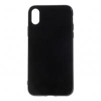 Lesklý gumový kryt na iPhone XS / iPhone X - černý