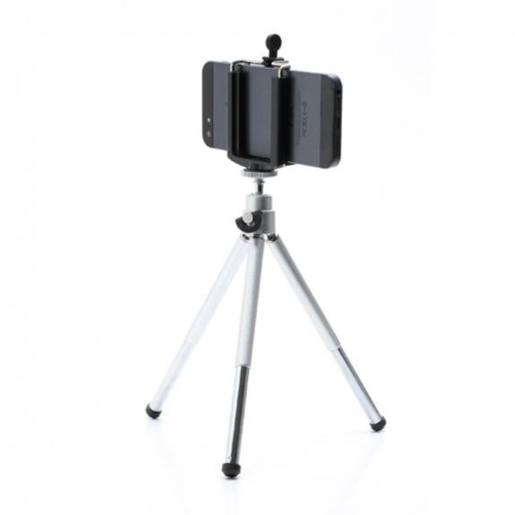 AppleKing hliníkový stativ / tripod s teleskopicky výsuvnuvými nohami pro Apple iPhone - stříbrný - možnost vrátit zboží ZDARMA do 30ti dní