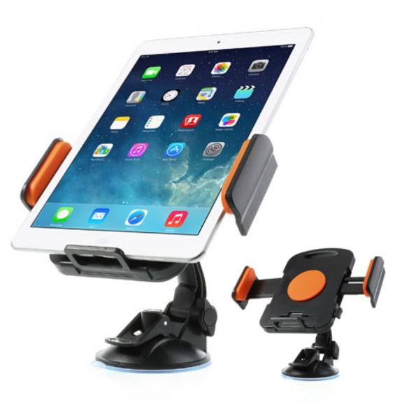 AppleKing držák do auta na iPad s přísavkou - otočný 360° - oranžový - možnost vrátit zboží ZDARMA do 30ti dní