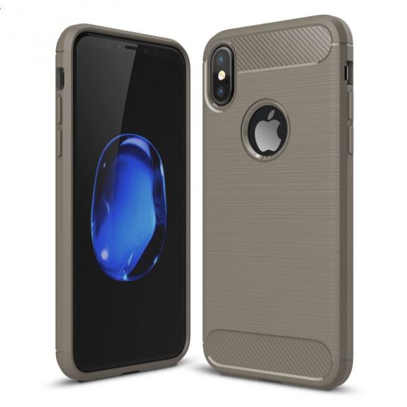AppleKing odolný karbonový kryt na iPhone XS / iPhone X - šedý - možnost vrátit zboží ZDARMA do 30ti dní