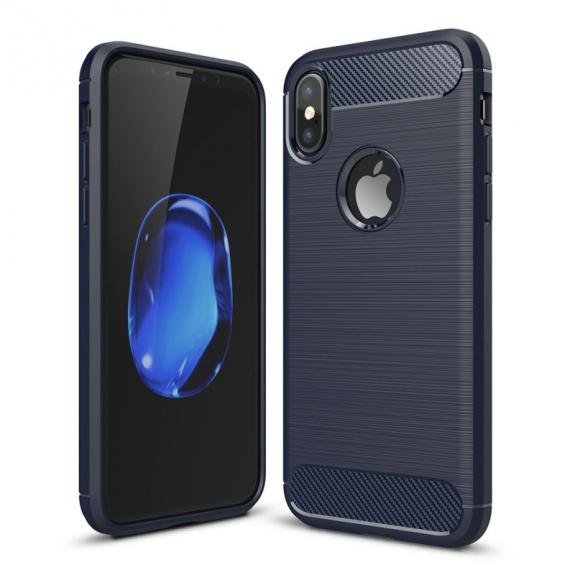 AppleKing odolný karbonový kryt na iPhone XS / iPhone X - modrý - možnost vrátit zboží ZDARMA do 30ti dní