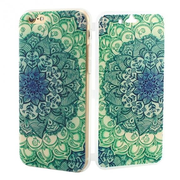 Otevírací / flip gumové pouzdro pro iPhone 6 / 6S - květinová kresba 2
