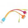 Synchronizační a nabíjecí kabel 4v1 s lightning konektorem / 30pin dock konektorem / micro USB / micro USB 3.0 - čtyřbarevný