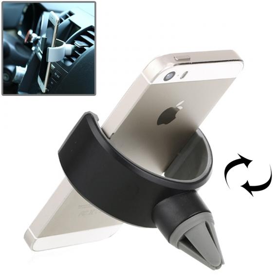 Univerzální 360° otočný držák na ventilační mřížku automobilu pro Apple iPhone a další zařízení - černý