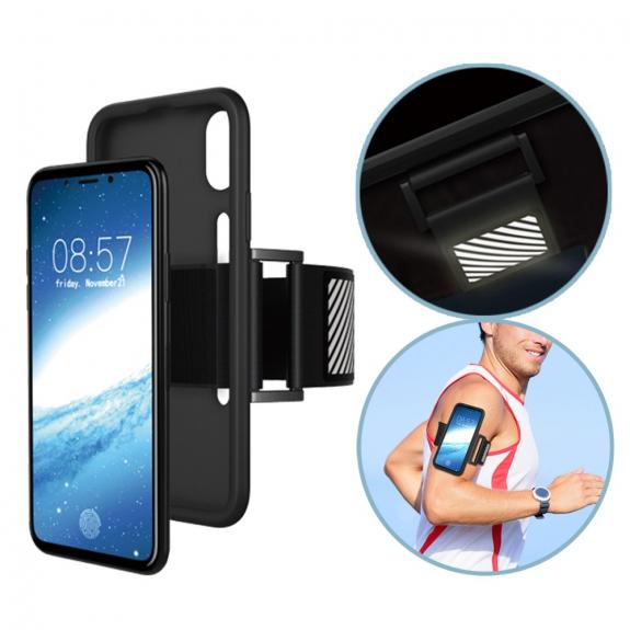 AppleKing sportovní pouzdro na ruku s reflexními prvky pro Apple iPhone X - černé - možnost vrátit zboží ZDARMA do 30ti dní