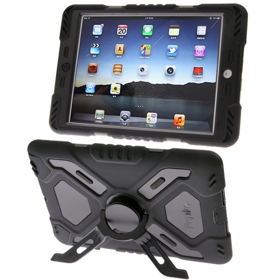 AppleKing pepkoo Odolné dvouvrstvé silikonovo-plastové pouzdro / obal pro Apple iPad Air 1.gen. s otočným stojánkem a přední ochranou vrstvou - černé - možnost vrátit zboží ZDARMA do 30ti dní