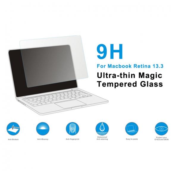"""AppleKing j.M.SHOW ultratenké 0.4mm ochranné tvrzené sklo 2.5D pro Apple MacBook Pro Retina 13"""" - čirá - možnost vrátit zboží ZDARMA do 30ti dní"""