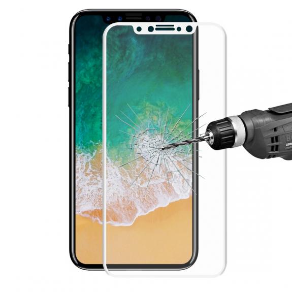 ENKAY super odolné 3D tvrzené sklo pro iPhone X - 0.2mm - bílá - možnost vrátit zboží ZDARMA do 30ti dní