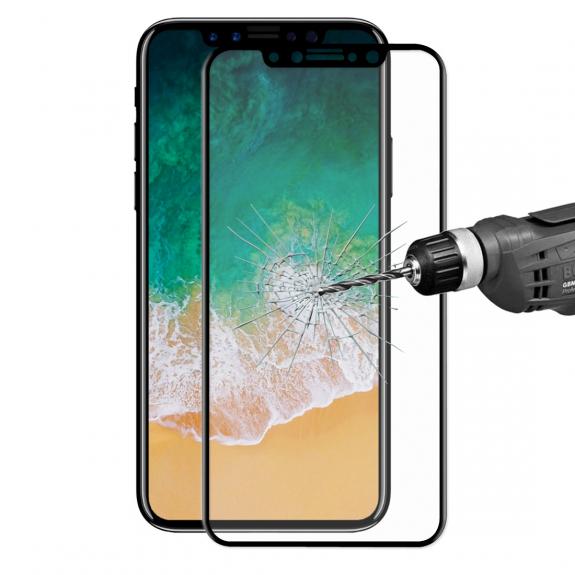 ENKAY super odolné 3D tvrzené sklo pro iPhone X - 0.2mm - černá - možnost vrátit zboží ZDARMA do 30ti dní