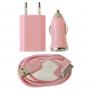 Nabíjecí sada 3v1 s 30pin konektorem pro iPhone / iPod Touch - růžová