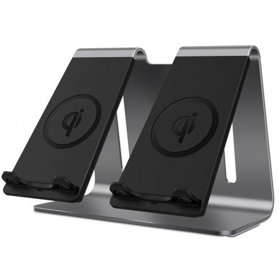 AppleKing bestand duální hliníková bezdrátová nabíječka pro iPhone - šedá - možnost vrátit zboží ZDARMA do 30ti dní