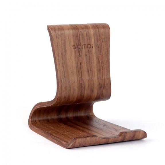 Samdi dřevěný variabilní stojánek pro iPhone / iPad - kávově hnědý - možnost vrátit zboží ZDARMA do 30ti dní