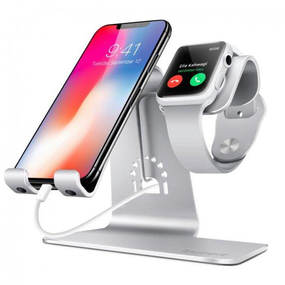 AppleKing bestand dokovací stanice 2v1 pro iPhone / iPad a Apple Watch - stříbrná - možnost vrátit zboží ZDARMA do 30ti dní