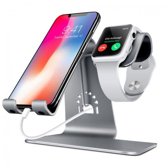 AppleKing bestand dokovací stanice 2v1 pro iPhone / iPad a Apple Watch - šedá - možnost vrátit zboží ZDARMA do 30ti dní