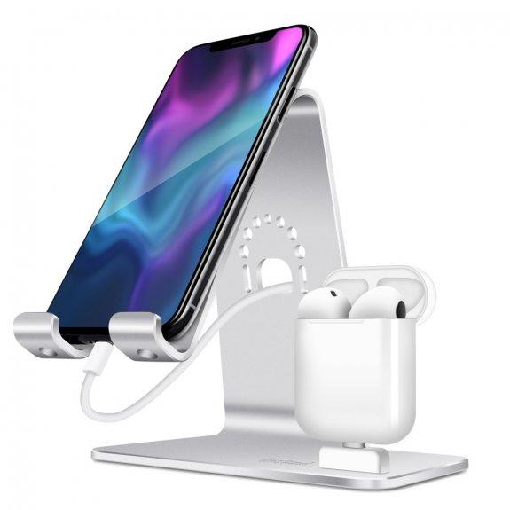 AppleKing bestand 2v1 dokovací stanice pro iPhone / iPad / AirPods - stříbrná - možnost vrátit zboží ZDARMA do 30ti dní