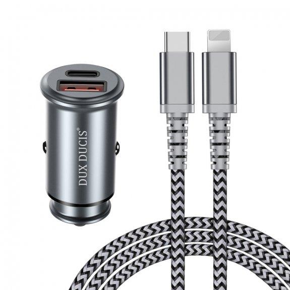 Dux Ducis nabíječka do auta s porty USB a USB-C + nabíjecí Lightning kabel - možnost vrátit zboží ZD