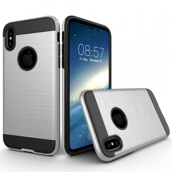 AppleKing odolný ochranný kryt na iPhone XS / iPhone X - broušená textura - stříbrný - možnost vrátit zboží ZDARMA do 30ti dní