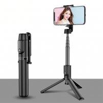 Teleskopická Bluetooth selfie tyč / stativ s trojnožkou na dálkové ovládání - černá