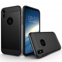 Odolný ochranný kryt na iPhone XS / iPhone X - broušená textura - černý