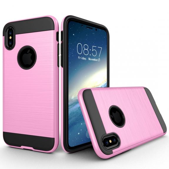AppleKing odolný ochranný kryt na iPhone XS / iPhone X - broušená textura - růžový - možnost vrátit zboží ZDARMA do 30ti dní