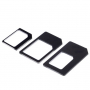 Redukce z Nano SIM karty na Micro SIM a na standardní SIM + redukce Micro SIM na standartní SIM kartu - černá