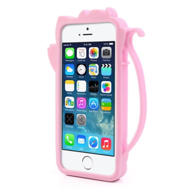 ... Silikonový 3D kryt na iPhone 5   5S   SE - roztomilá kočička - růžový  ... d0e6f1c5d22