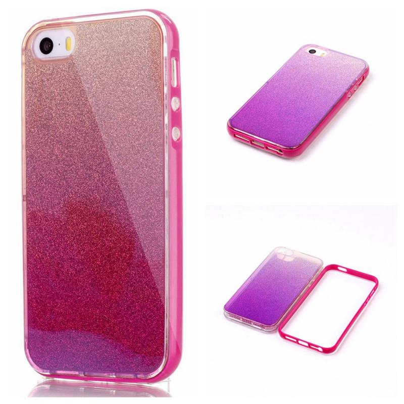 Lesklý gelový kryt se třpytkami pro iPhone 5   5S   SE - tmavě růžový ... 4cdc65215a3