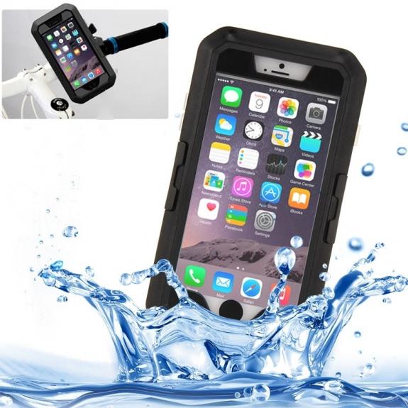 AppleKing voděodolné pouzdro s otočným držákem na kolo pro iPhone 6 Plus / 6S Plus - černé - možnost vrátit zboží ZDARMA do 30ti dní