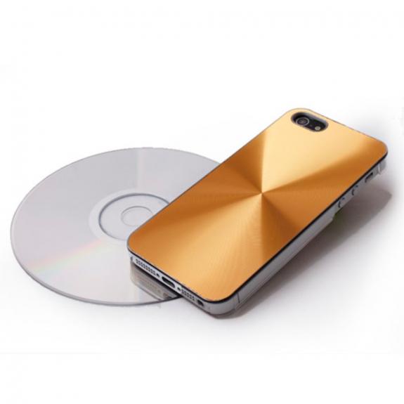 AppleKing plastový kryt s CD povrchem pro iPhone 5 / 5S / SE - zlatý - možnost vrátit zboží ZDARMA do 30ti dní