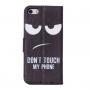 """Pouzdro s integrovaným stojánkem a prostorem na doklady pro iPhone 5 / 5S / SE - """"DON'T TOUCH MY PHONE"""""""