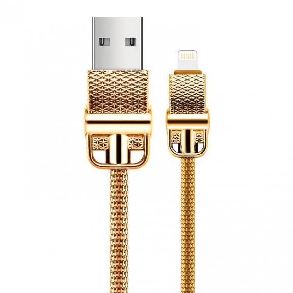 JOYROOM nabíjecí a datový kabel lightning s kovovým opletením pro iPhone / iPad / iPod - 1m - zlatá - možnost vrátit zboží ZDARMA do 30ti dní