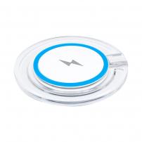 Bezdrátová QI nabíječka s rychlým nabíjením a se světelnou indikací pro iPhone / 8 / 8 Plus - modrá