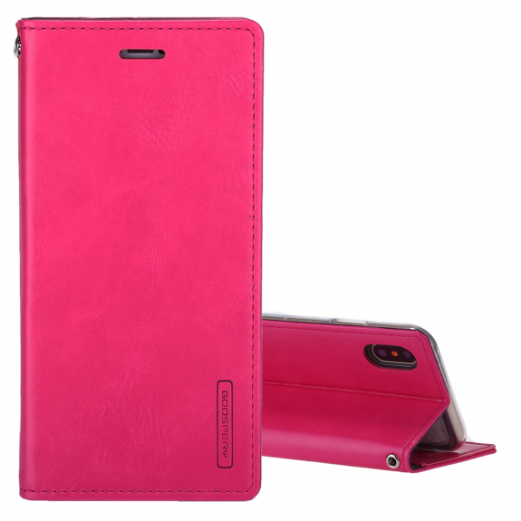 GOOSPERY mERCURY kožené pouzdro s prostorem na doklady a stojánkem pro iPhone XS / iPhone X - purpurová - možnost vrátit zboží ZDARMA do 30ti dní