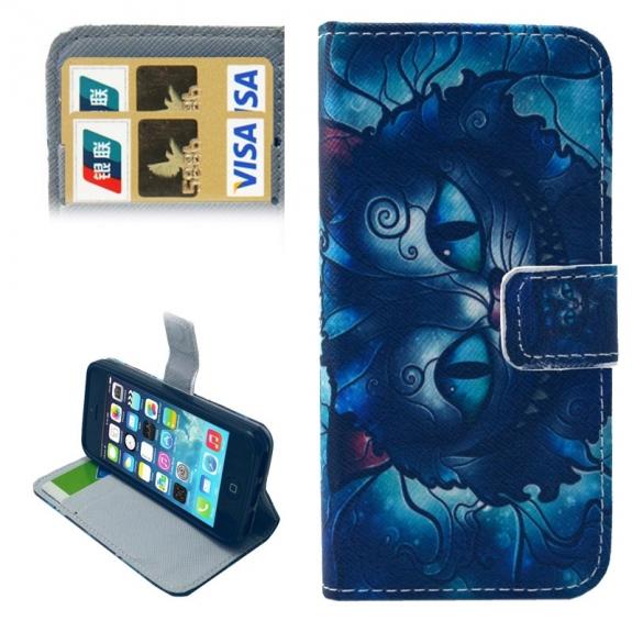 Pouzdro s integrovaným stojánkem a prostoren na doklady pro iPhone 5 / 5S / SE - kocour