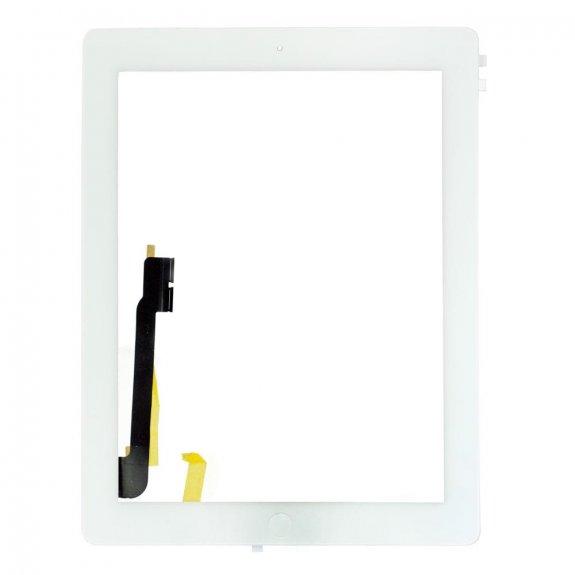 AppleKing classic přední dotykové sklo (touch screen) pro Apple iPad 4 s tlačítkem Home Button a lepidlem - bílé - možnost vrátit zboží ZDARMA do 30ti dní