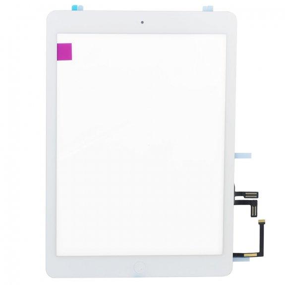 AppleKing premium přední dotykové sklo (touch screen) pro Apple iPad Air s tlačítkem Home Button a lepidlem - bílé - možnost vrátit zboží ZDARMA do 30ti dní