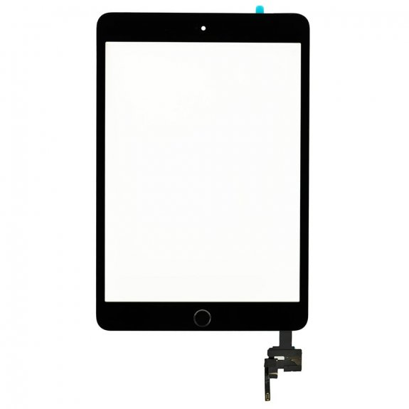 AppleKing premium přední dotykové sklo (touch screen) pro Apple iPad mini 3 s tlačítkem Home Button a lepidlem - černé - možnost vrátit zboží ZDARMA do 30ti dní