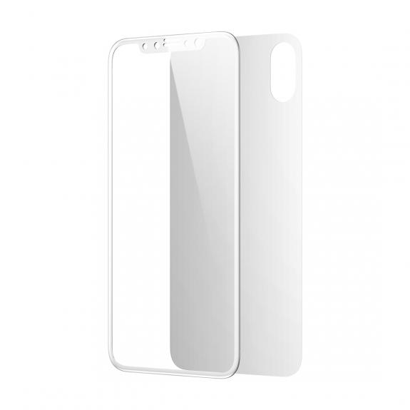 BASEUS 2v1 tvrzené sklo na přední i zadní stranu pro iPhone XS / iPhone X - bílé - možnost vrátit zboží ZDARMA do 30ti dní