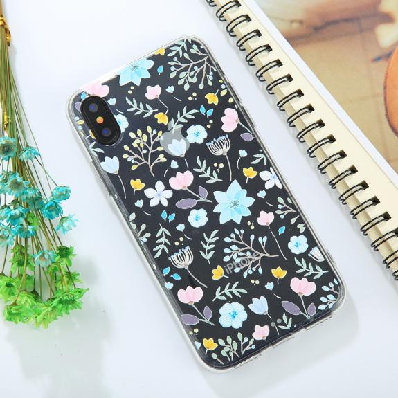 AppleKing ochranný kryt pro iPhone XS / iPhone X - s květinami - možnost vrátit zboží ZDARMA do 30ti dní