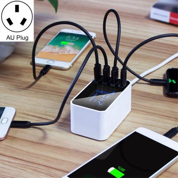 AppleKing nabíječka 20W s USB-C a třemi USB porty a LCD displejem - bílá - možnost vrátit zboží ZDAR
