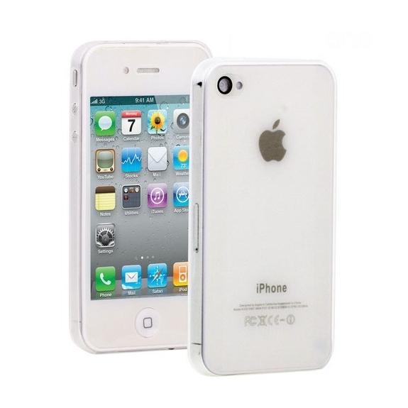 Ultra tenký (0.3mm) poloprůhledný matný kryt pro iPhone 4 / 4S - bílý