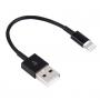 Krátký nabíjecí a synchronizační lightning kabel pro iPhone / iPad / iPod - 13cm - černý