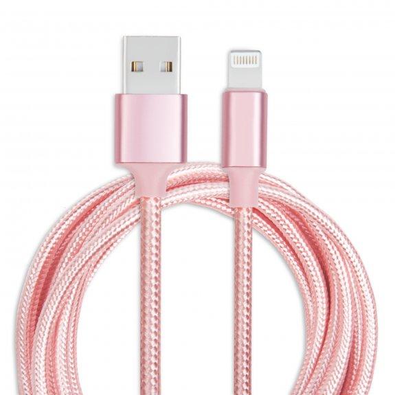 AppleKing opletený kabel Lightning - 1 m - růžový - možnost vrátit zboží ZDARMA do 30ti dní