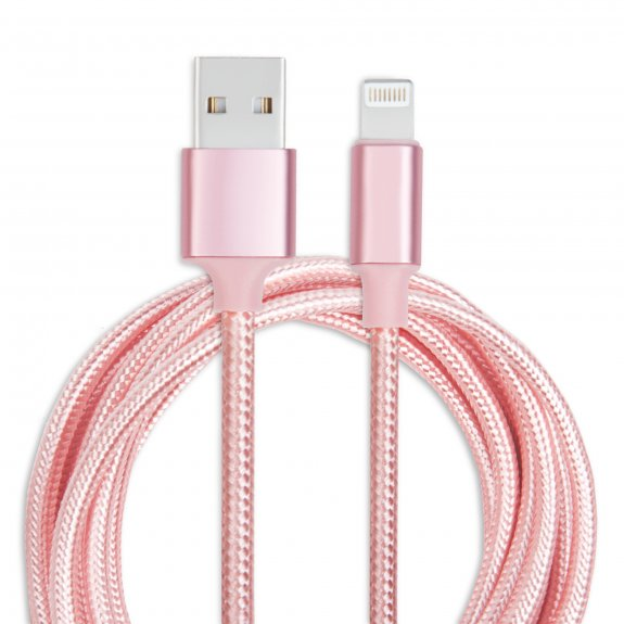 AppleKing opletený kabel Lightning - 2 m - růžový - možnost vrátit zboží ZDARMA do 30ti dní