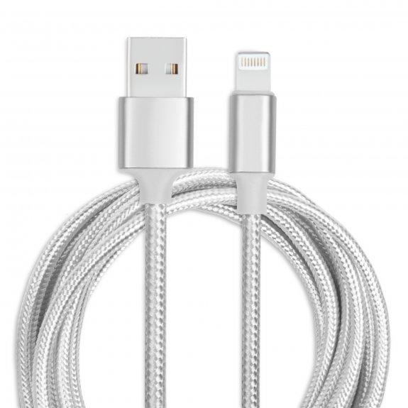 AppleKing opletený kabel Lightning - 2 m - stříbrný - možnost vrátit zboží ZDARMA do 30ti dní
